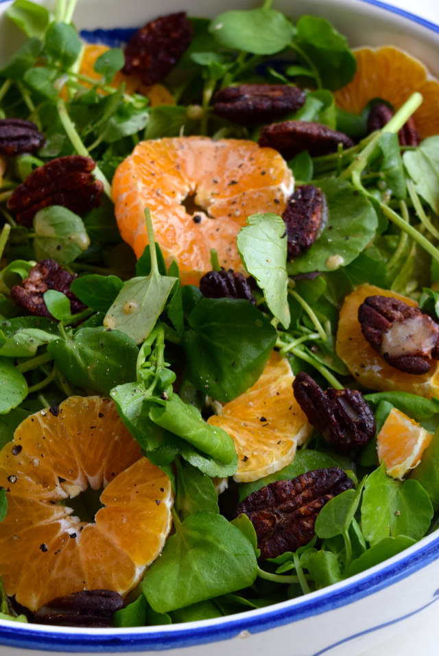 Watercress, Clementine & Festive Spiced Pecan Salad   www.rachelphipps.com @rachelphipps