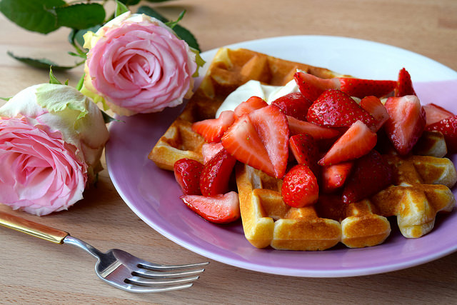 Valentines Waffles with Rose Syrup Strawberries & Crème Fraîche | www.rachelphipps.com @rachelphipps