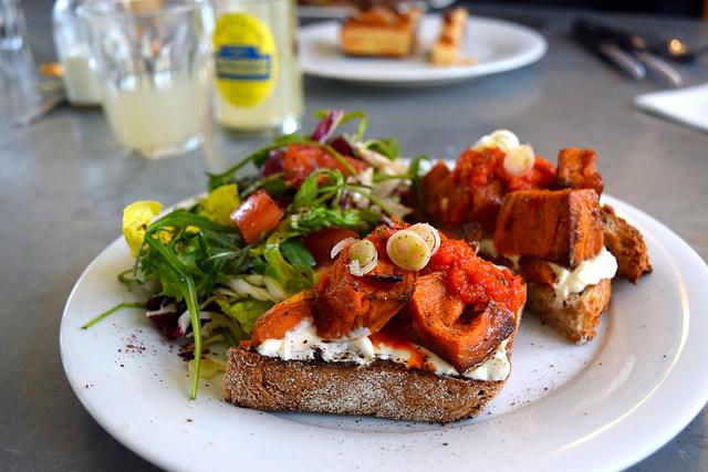Roast Sweet Potato & Labneh on Toast with a Green Salad at Pop Up Cafe, Deal   www.rachelphipps.com @rachelphipps