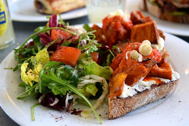 Roast Sweet Potato & Labneh on Toast at Pop Up Cafe, Deal   www.rachelphipps.com @rachelphipps