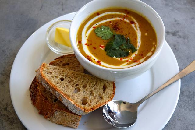 Cauliflower Soup & Homemade Sourdough at Pop Cafe, Deal   www.rachelphipps.com @rachelphipps