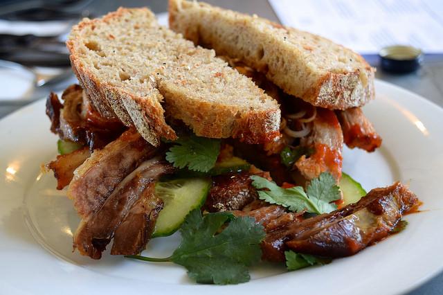 Pork Belly Hoisin & Sriracha Sandwich at Pop Up Cafe, Deal   www.rachelphipps.com @rachelphipps
