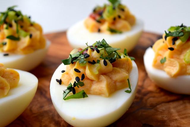Asian Devilled Eggs | www.rachelphipps.com @rachelphipps