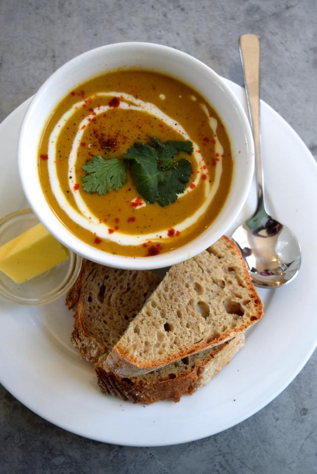 Roasted Cauliflower Soup at The Pop Up Cafe, Deal   www.rachelphipps.com @rachelphipps