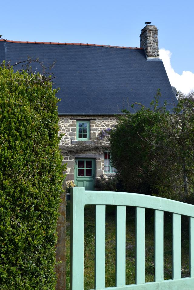 Green Painted Brittany Stone House   www.rachelphipps.com @rachelphipps