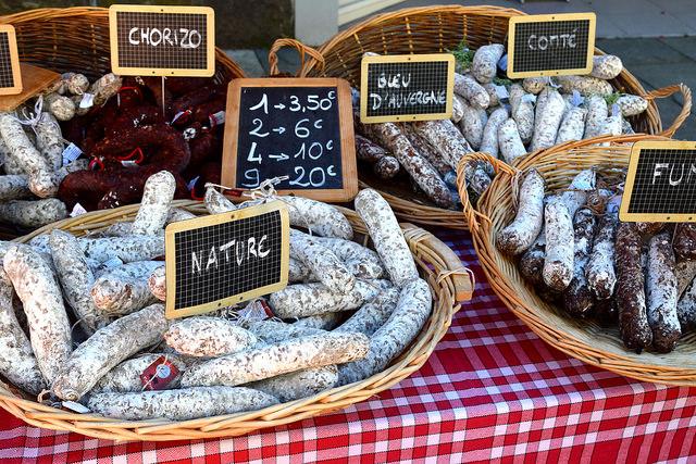 Sausisson at Combourg Market, Brittany | www.rachelphipps.com @rachelphipps