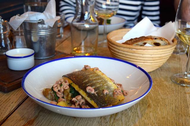 Sea Bass with Brown Shrimp Butter at The Duke William, Ickham | www.rachelphipps.com @rachelphipps