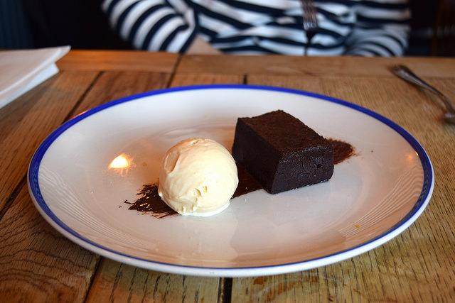 Chocolate Brownie with Salted Caramel Ice Cream at The Duke William, Ickham | www.rachelphipps.com @rachelphipps