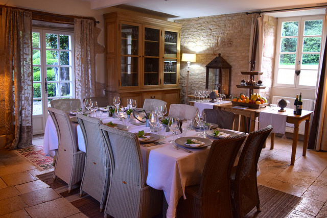 Dining Table at Manoir de Malagorse | www.rachelphipps.com @rachelphipps