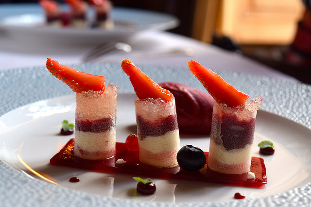 Red Fruits Sorbet, Crispy Opaline and Champagne Jelly at Chateau de la Treyne | www.rachelphipps.com @rachelphipps