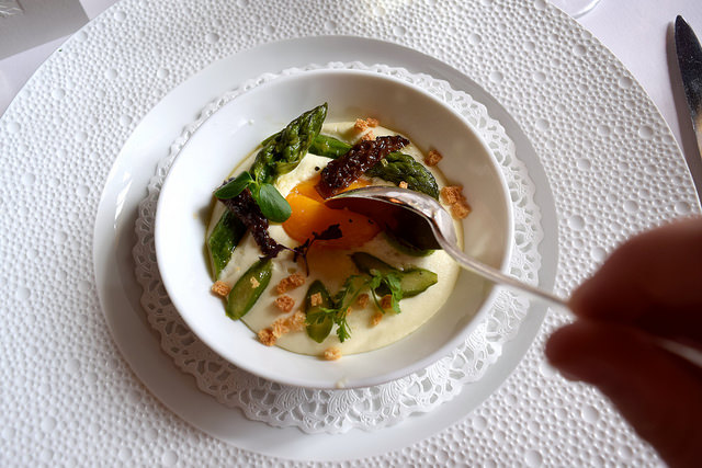 Deconstructed Fried Egg at Chateau de la Treyne | www.rachelphipps.com @rachelphipps