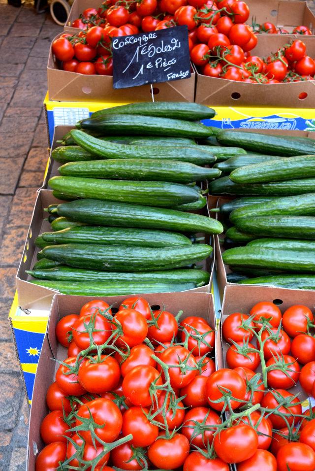 Tomato and Cucumber at Sarlat Market | www.rachelphipps.com @rachelphipps
