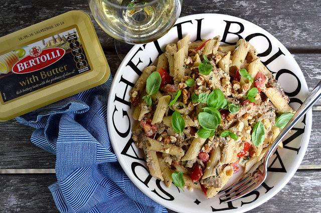 Penne Pasta with Walnut & Aubergine Pesto | www.rachelphipps.com @rachelphipps