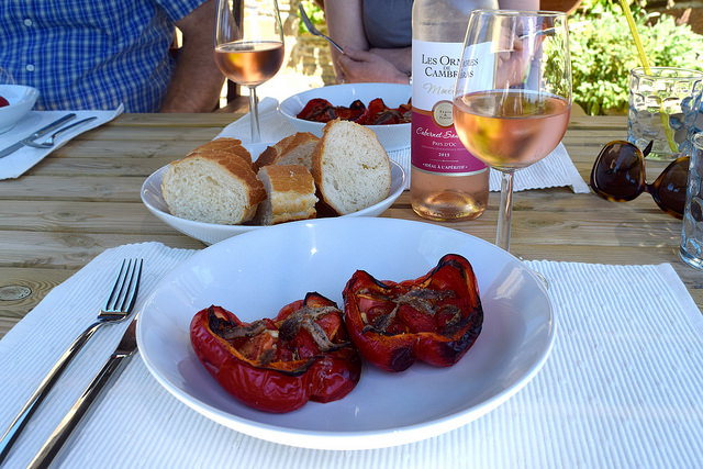 Summer Lunch of Italian Roasted Peppers with Tomatoes and Anchovies   www.rachelphipps.com @rachelphipps