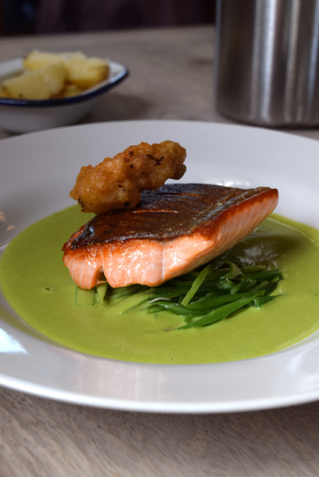 Sea Trout with Pea Sauce and a Deep Fried Oyster at The Sportsman, Seasalter   www.rachelphipps.com @rachelphipps