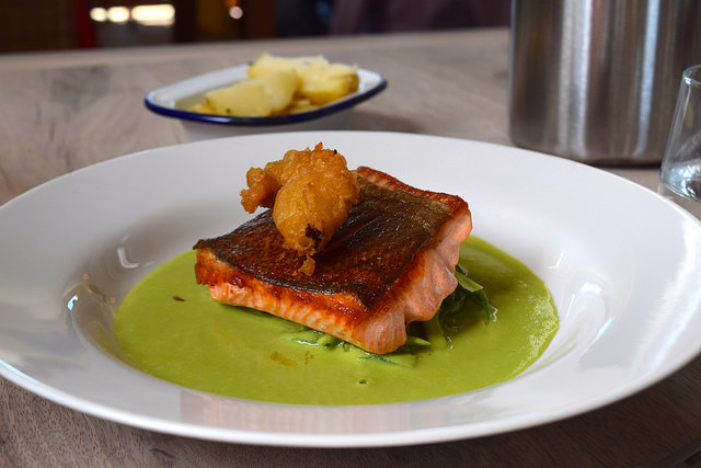 Sea Trout with Pea Sauce and Green Beans at The Sportsman, Seasalter   www.rachelphipps.com @rachelphipps