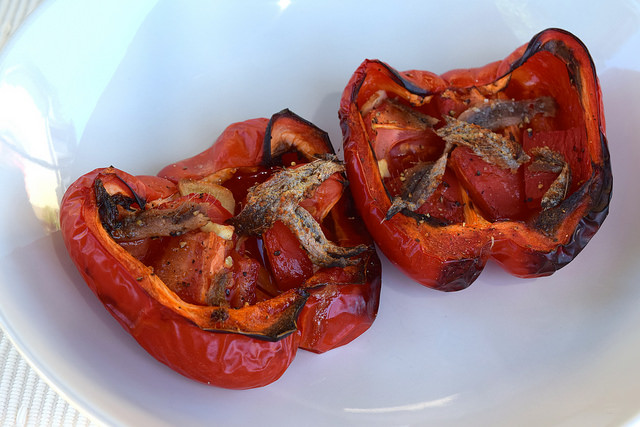 Italian Roasted Peppers with Tomatoes and Anchovies   www.rachelphipps.com @rachelphipps