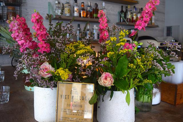 Floral Arrangement at Little Viet Kitchen, Islington | www.rachelphipps.com @rachelphipps