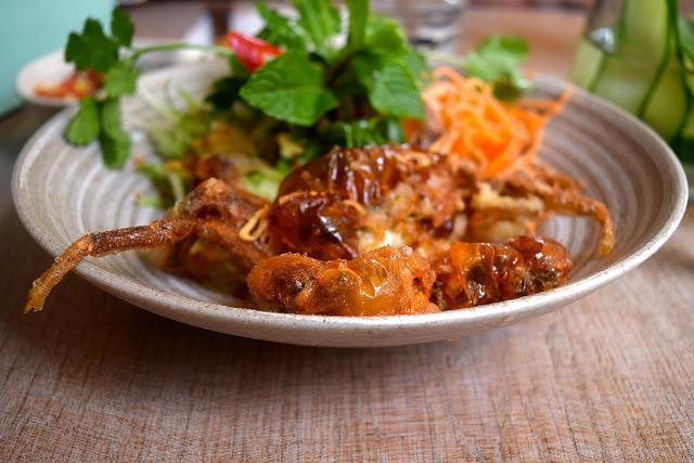 Soft Shell Tempura Crab & Spiralised Vegetables at  at Little Viet Kitchen, Islington | www.rachelphipps.com @rachelphipps