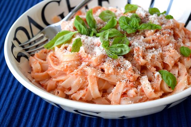 Tagliatelle with Creamy Almond and Tomato Sauce | www.rachelphipps.com @rachelphipps