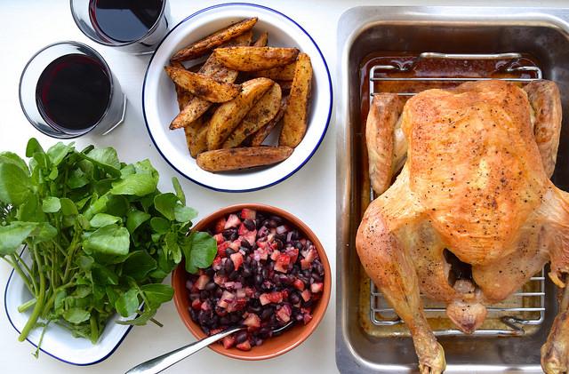 Daylesford Organic Roast Chicken with Black Bean and Strawberry Salsa | www.rachelphipps.com @rachelphipps