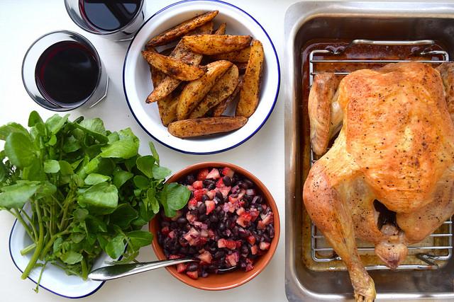 Roast Chicken with Black Bean and Strawberry Salsa | www.rachelphipps.com @rachelphipps