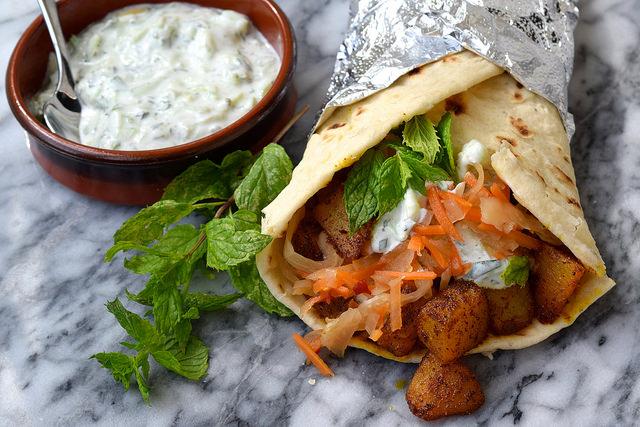 Indian Spiced Potato Wraps with Easy Raita and Spicy Slaw | www.rachelphipps.com @rachelphipps