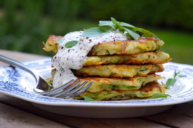 Courgette and Potato Fritters with Sumac Sauce   www.rachelphipps.com @rachelphipps