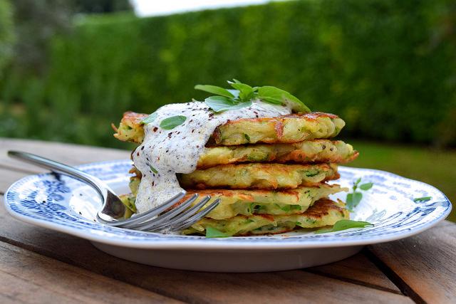 Courgette & Potato Fritters with Greek Basil and Sumac Sauce   www.rachelphipps.com @rachelphipps