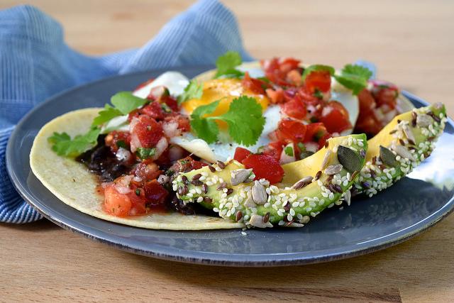 Healthy Huevos Rancheros with Seeded Avocado   www.rachelphipps.com @rachelphipps