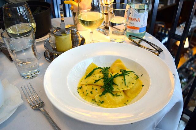 Crab Ravioli with Samphire at Cafe Monico, Soho   www.rachelphipps.com @rachelphipps