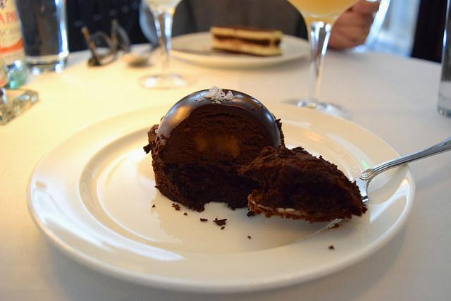 Salted Caramel Chocolate Bombe at Cafe Monico   www.rachelphipps.com @rachelphipps