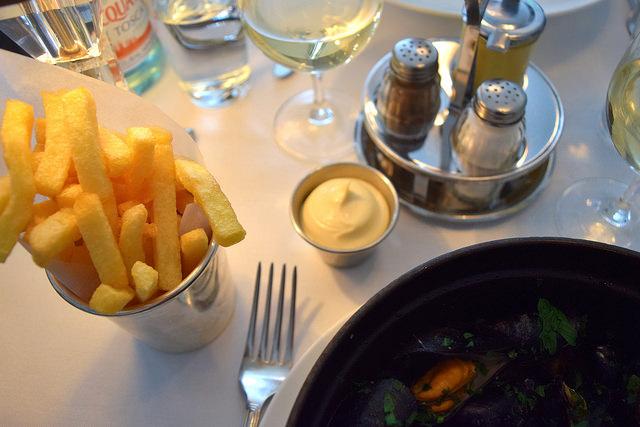 French Fries & Mayo at Cafe Monico, Soho   www.rachelphipps.com @rachelphipps