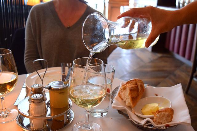 Carafe of Chardonnay at Cafe Monico, Soho   www.rachelphipps.com @rachelphipps