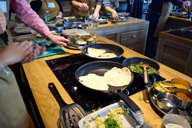 Dry Frying Chapatis at The Jamie Oliver Cookery School | www.rachelphipps.com @rachelphipps