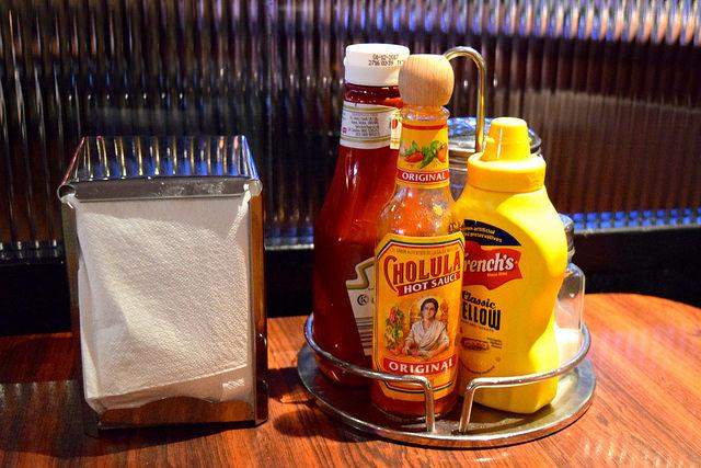 Ketchup, Mustard and Hot Sauce at The Diner, Soho   www.rachelphipps.com @rachelphipps