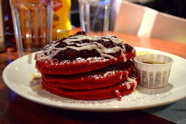Red Velvet Pancakes at The Diner, Soho   www.rachelphipps.com @rachelphipps