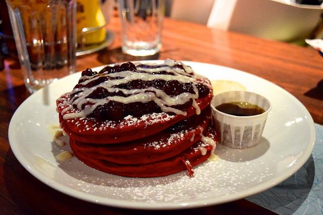 All Day Red Velvet Pancakes at The Diner, Soho   www.rachelphipps.com @rachelphipps