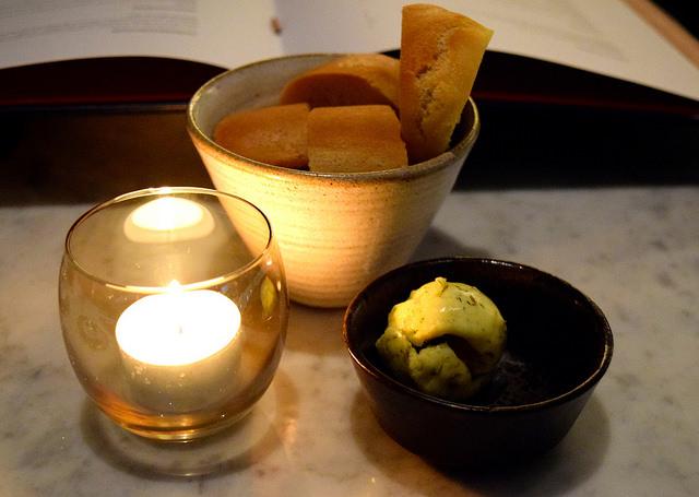 Bread and Spiced Butter at Samarkand, Fitzrovia | www.rachelphipps.com @rachelphipps