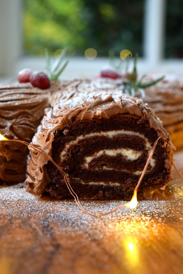 Christmas Chocolate Yule Log with Brandy Crème Fraîche | www.rachelphipps.com @rachelphipps