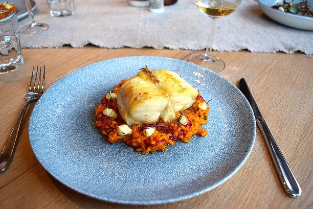 Monkfish, Saffron and Red Pepper Rice at The Wife of Bath, Wye | www.rachelphipps.com @rachelphipps