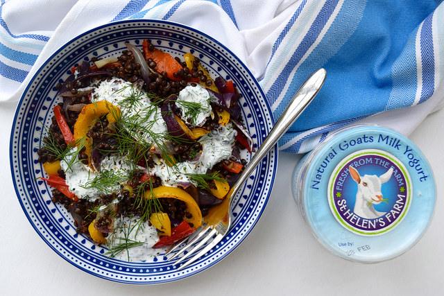 Warm Roasted Vegetable Lentil Bowl with Herby Goats Yogurt + Giveaway | www.rachelphipps.com @rachelphipps