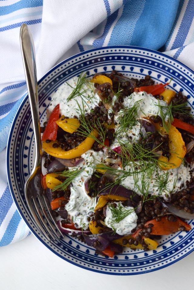 Warm Roasted Vegetable Lentil Bowl with Herby Goats Yogurt | www.rachelphipps.com @rachelphipps