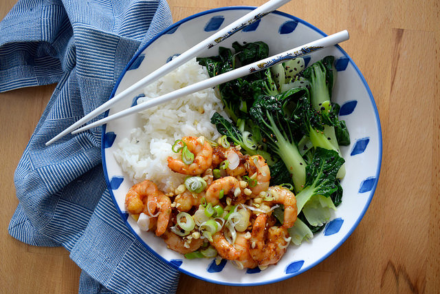 Korean Prawn Rice Bowl with Pak Choi | www.rachelphipps.com @rachelphipps