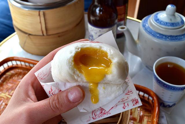 Duck Egg Custard Bao at Bun House, Soho | www.rachelphipps.com @rachelphipps