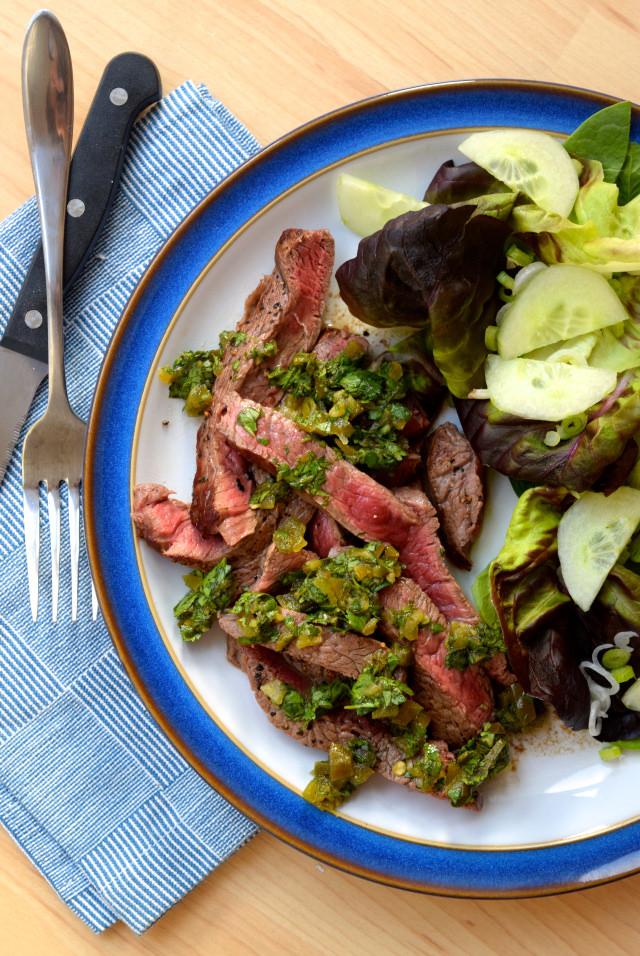 Steak with Pickled Jalapeño Relish | www.rachelphipps.com @rachelphipps