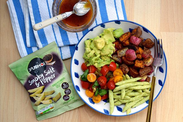 Vegan Mexican Roasted Sweet Potato, Radish & Tomato Bowl | www.rachelphipps.com @rachelphipps