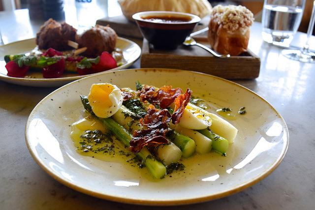 Asparagus with Pheasant Egg Gribiche and Crispy Bath Chaps at Duck & Waffle   www.rachelphipps.com @rachelphipps