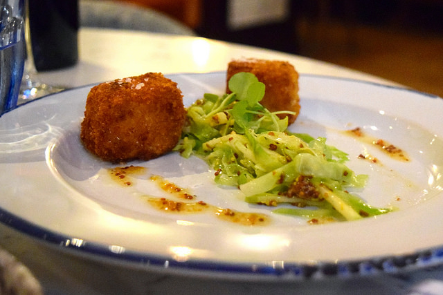 Pork Belly Fritters with Sweetheart Cabbage at The Pickled Hen, Marylebone   www.rachelphipps.com @rachelphipps