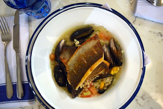 Sea Bass with Cider Mussels & Barley at The Pickled Hen, Marylebone   www.rachelphipps.com @rachelphipps